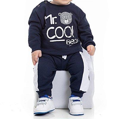 Conjunto Inverno Blusa e Calça Moletom Azul Marinho Cool Bear