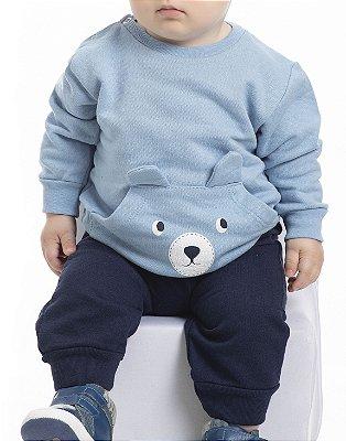 Conjunto Inverno Blusa Azul Clara e Calça Marinho Moletom Ursinho Com Estampa Puff