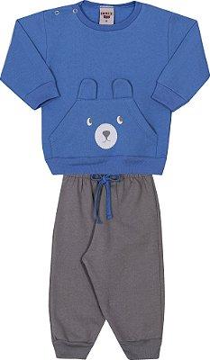 Conjunto Inverno Blusa Azul Royal e Calça Cinza Moletom Ursinho Com Estampa Puff