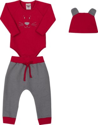 Conjunto Body Com Bordado Vermelho e Touca e Calça Moletom Botone