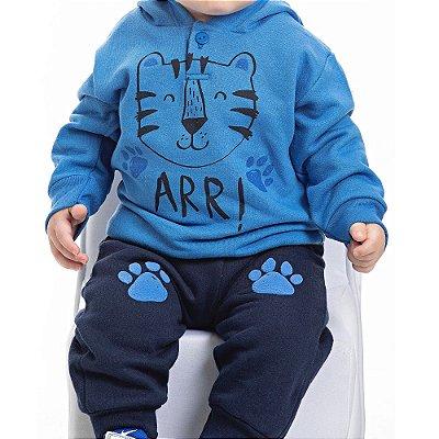 Conjunto Inverno Azul Royal Blusa Com Capuz e Calça Moletom Tigre Arr