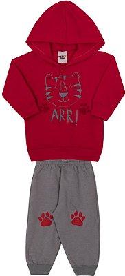 Conjunto Inverno Vermelho Blusa Com Capuz e Calça Moletom Tigre Arr
