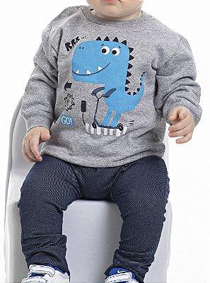 Conjunto Inverno Cinza Blusa Moletom e Calça Cotton Jeans Dino Azul