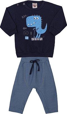 Conjunto Inverno Marinho Blusa Moletom e Calça Cotton Jeans Dino Azul