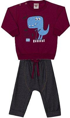 Conjunto Inverno Bordo Blusa Moletom e Calça Cotton Jeans Dino Azul