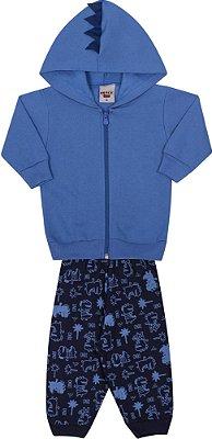 Conjunto Inverno Jaqueta Azul Royal Com Capuz e Calça Moletom Com Aplique