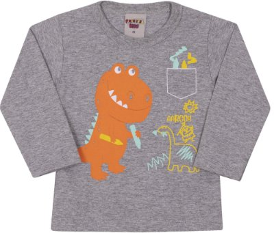 Camiseta Inverno Cinza Meia Malha Dino Laranja