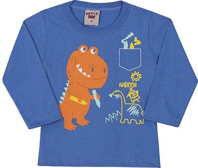 Camiseta Inverno Azul Royal Meia Malha Dino Laranja