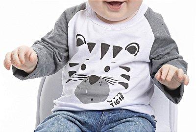 Camiseta Inverno Meia Malha Cute Tiger Branca Com Cinza