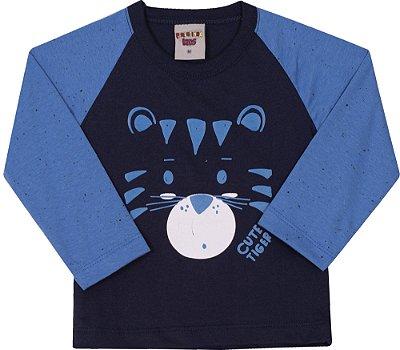 Camiseta Inverno Meia Malha Cute Tiger Azul Marinho