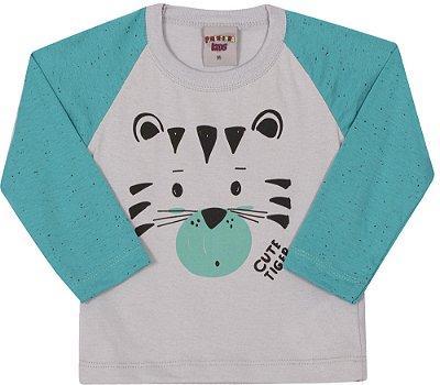 Camiseta Inverno Meia Malha Cute Tiger Verde Com Cinza