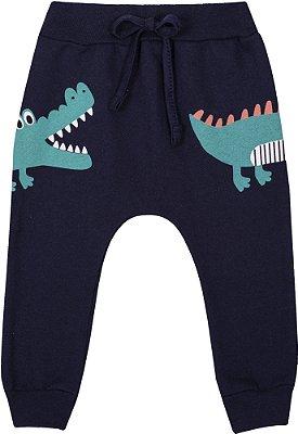 Calça Inverno Moletom Crocodilo Marinho