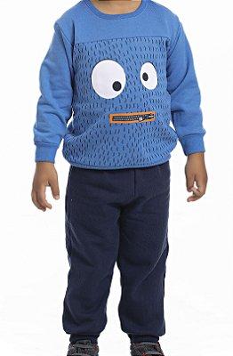 Conjunto Inverno Blusa e Calça Moletom Azul Royal Olhos e Boca