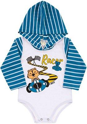 Body Bebê Com Capuz Racer Azul