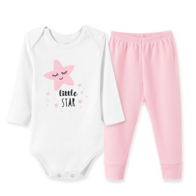 Conjunto Body Bebê 2 peças Little Star Rosa e Branco