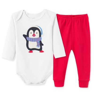 Conjunto Body Bebê 2 peças Pinguin Branco e Vermelho