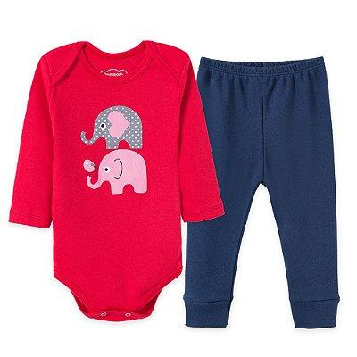 Conjunto Body Bebê 2 peças Elefantinhos Vermelho e Azul