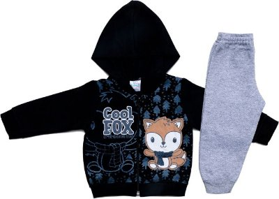 Conjunto Inverno Moletom Preto Cool Fox e Calça Cinza