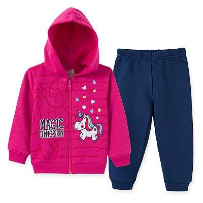Conjunto Inverno Moletom Pink Magic Unicorn e Calça Azul