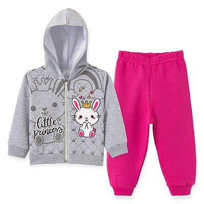 Conjunto Inverno Moletom Cinza Little Princess e Calça Pink