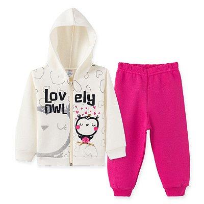 Conjunto Inverno Moletom Bege Lovely Owl e Calça Pink