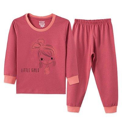 Conjunto Pijama 2 peças Rosa Escuro Little Girls
