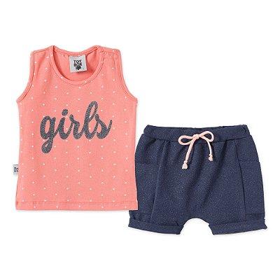 Conjuntinho 2 peças Camiseta Girls Concha e Short Moletinho Azul