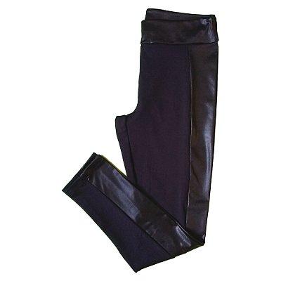 Calça legging montaria preta c/ cirré plus size