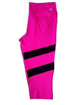 Calça corsário rosa c/ recorte em tule plus size