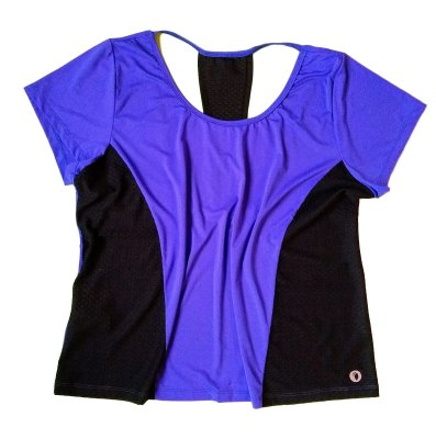 Camiseta dryfit decote costas azul plus size