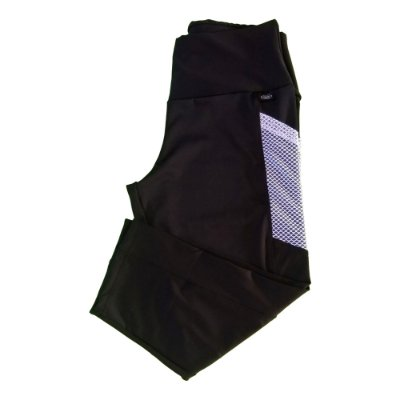Calça corsário preta c/ bolso tela plus size