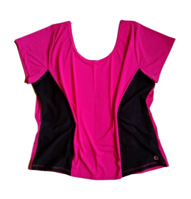 Camiseta dryfit decote costas rosa plus size