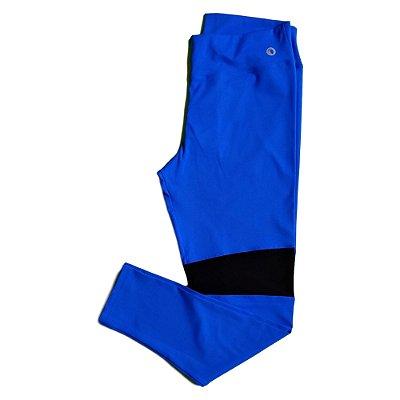 Calça legging Emana azul detalhe em tule plus size