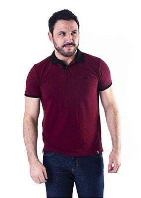 Camisa Polo Manga Curta Bordô e Preto Contraste - XK215-06