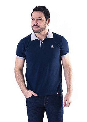 Camisa Polo Manga Curta Azul Marinho e Cinza Cavalinho - XK221-03