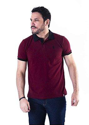 Camisa Polo Manga Curta Bordô e Preto Cavalinho- XK221-06