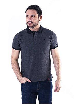 Camisa Polo Manga Curta Cinza Escuro e Preta Cavalinho- XK221-05