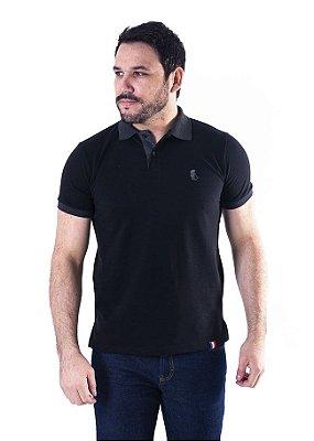 Camisa Polo Manga Curta Preto e Cinza Escuro Cavalinho- XK221-02