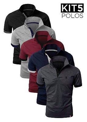 Kit 5 Camisas Polo – Preta, Azul, Bordô, Cinza Claro e Cinza Escuro – K5-XK221