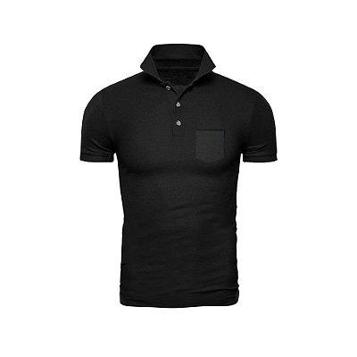 Camisa Polo Phox Premium com bolso Preta - 1010-11