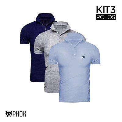 Kit 3 Polos Phox Premium - Azul Marinho, Cinza Claro, Azul Jeans