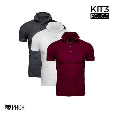 Kit 3 Polos Phox Premium - Cinza Escuro, Branca, Bordô