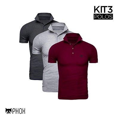 Kit 3 Polos Phox Premium - Cinza Escuro, Cinza Claro e Bordô