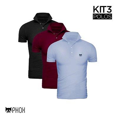 Kit 3 Polos Phox Premium - Preta, Bordô, Azul Jeans