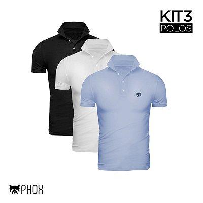 Kit 3 Polos Phox Premium - Preta, Branca, Azul Jeans