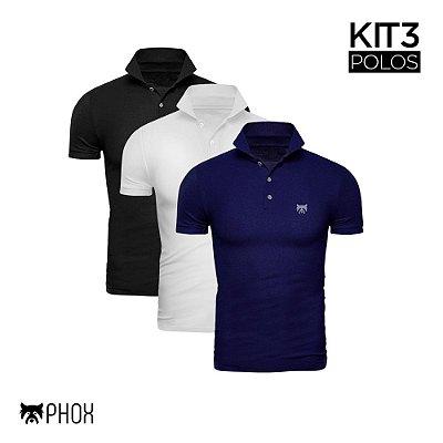 Kit 3 Polos Phox Premium - Preta, Branca, Azul Marinho
