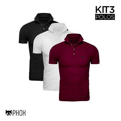 Kit 3 Polos Phox Premium - Preta, Branca, Bordô
