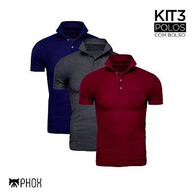 Kit 3 Polos Phox Premium com bolso - Azul Marinho, Cinza Escuro, Bordô