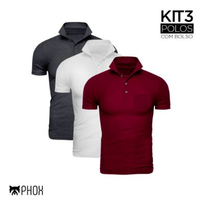 Kit 3 Polos Phox Premium com bolso - Cinza Escuro, Branca, Bordô