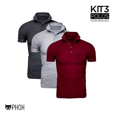 Kit 3 Polos Phox Premium com bolso - Cinza Escuro, Cinza Claro e Bordô